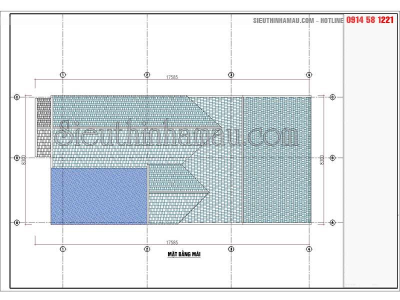 Bản vẽ thiết kế nhà đẹp 8x16m cấp 4