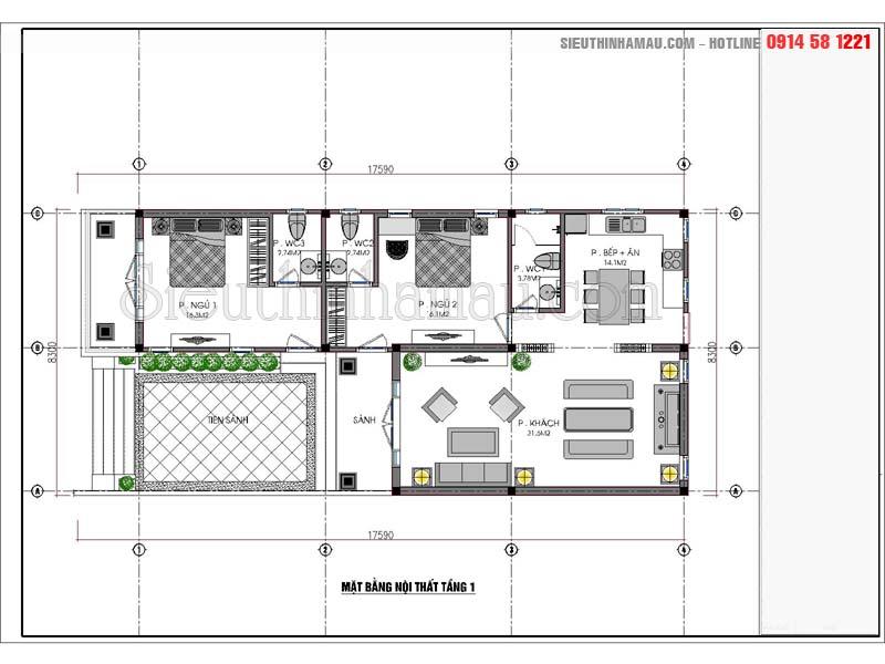 Bản vẽ thiết kế nhà đẹp 8x16m 1 tầng