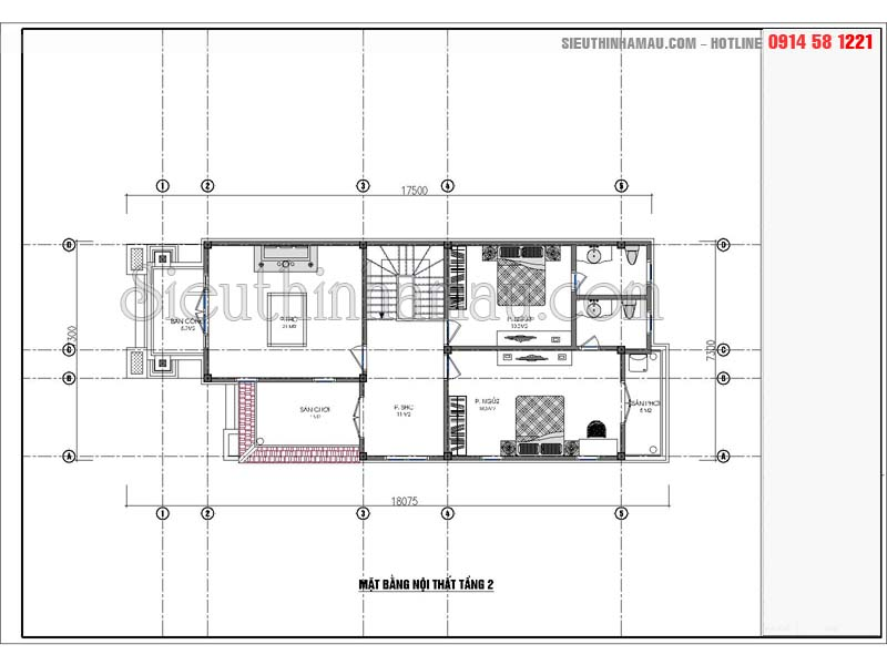 Bản vẽ biệt thự 7x14m