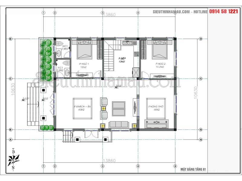 mẫu nhà 100m2 2 phòng ngủ