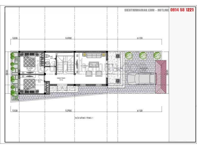 nhà cấp 4 7x15m
