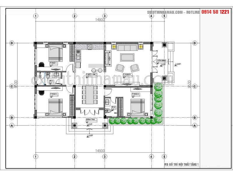 nhà cấp 4 9x14m