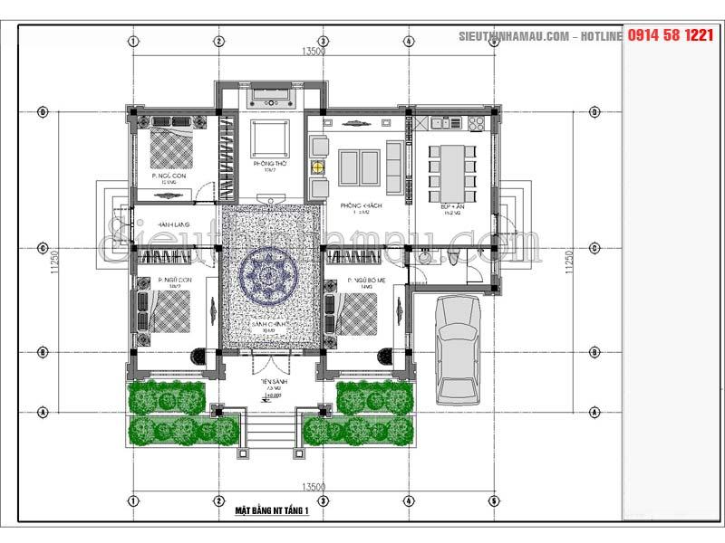 thiết kế nhà cấp 4 mái thái 3 phòng ngủ