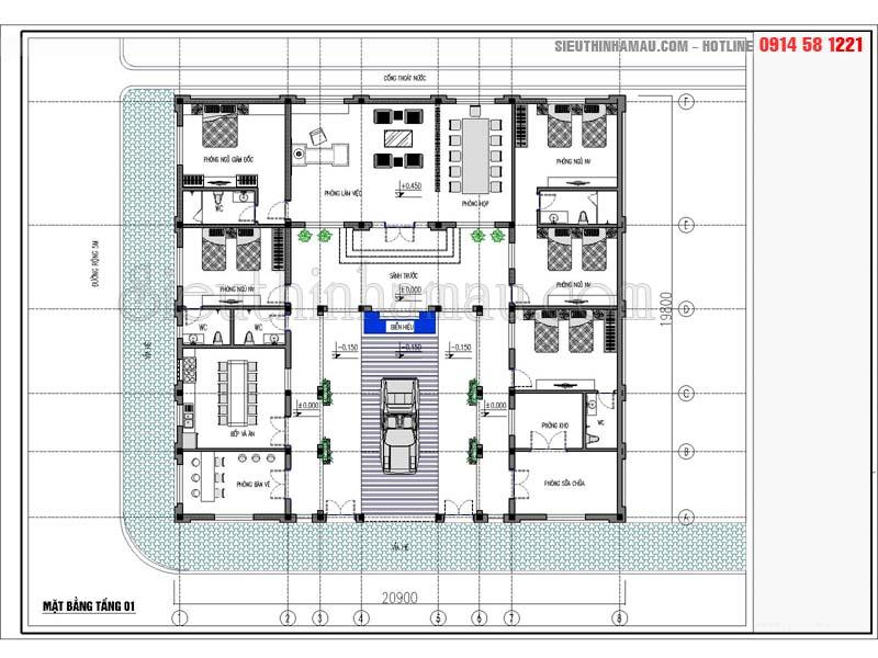 mẫu nhà vườn 1 tầng 5 phòng ngủ kết hợp kinh doanh