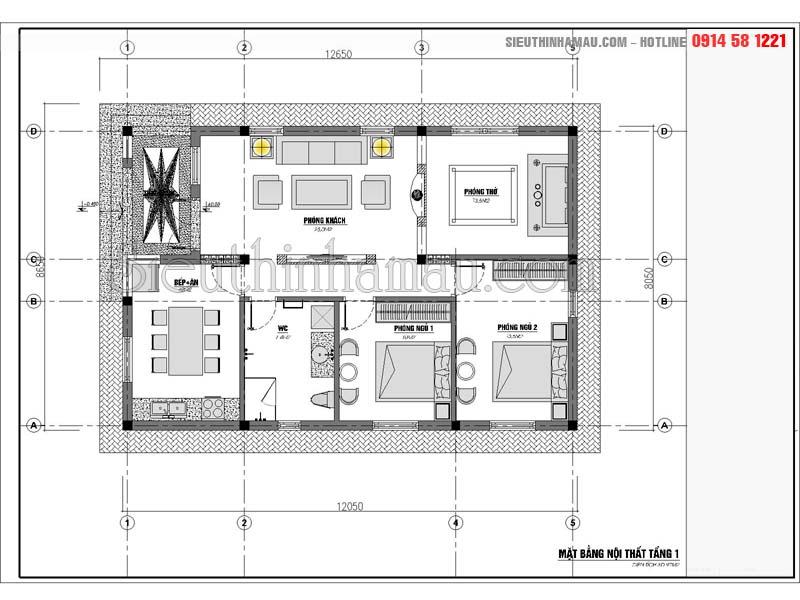 mẫu Thiết kế nhà cấp 4 8x12m đẹp