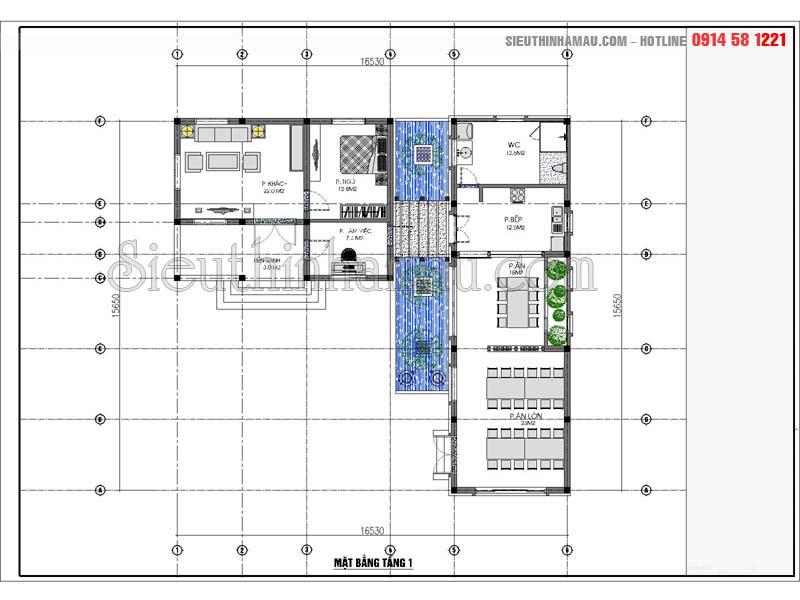 mẫu thiết kế nhà đẹp 8x16m