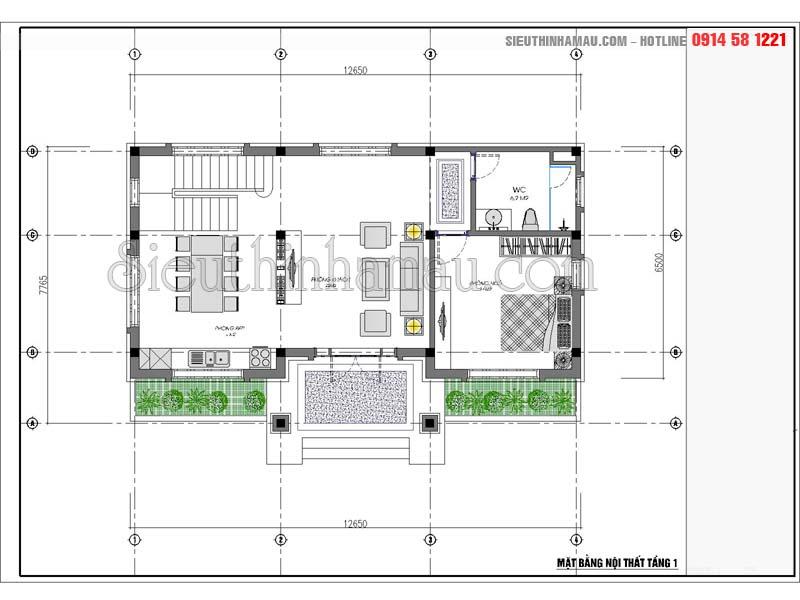 Mẫu nhà 2 tầng mặt tiền 7m