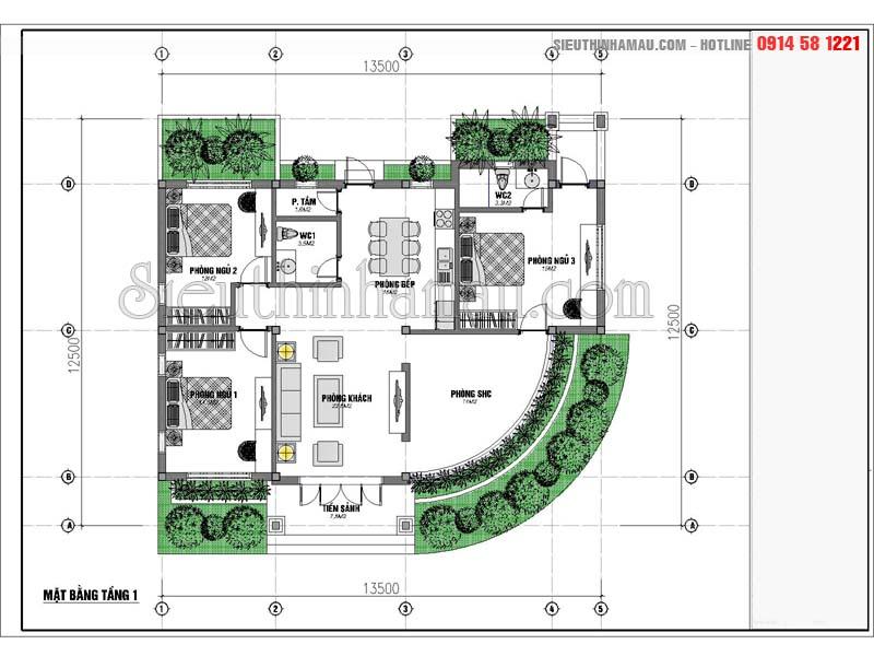 Nhà cấp 4 mái thái 130m2