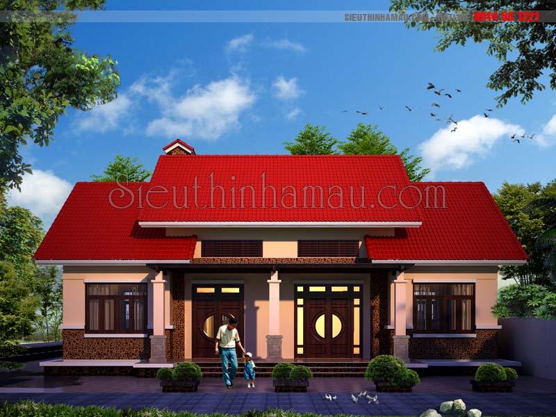 Mẫu nhà trệt đẹp mái ngói đỏ truyền thống