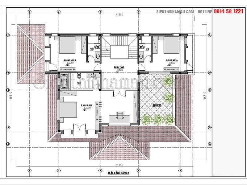 mẫu thiết kế biệt thự 300m2