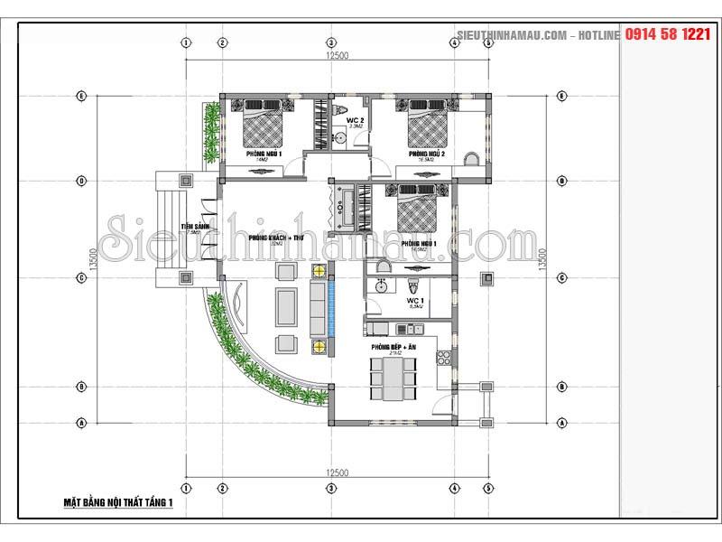 nhà cấp 4 mái thái 3 phòng ngủ