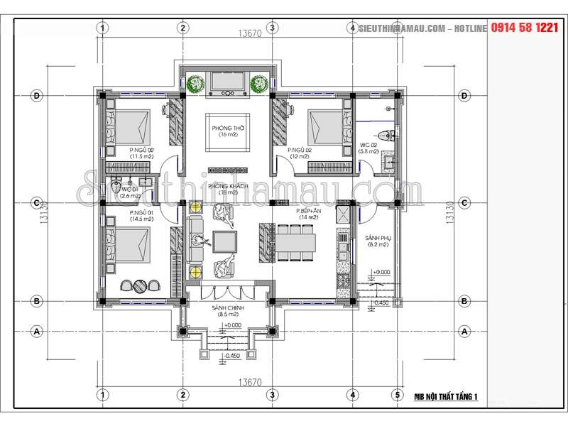 nhà vuông mái thái 1 tầng