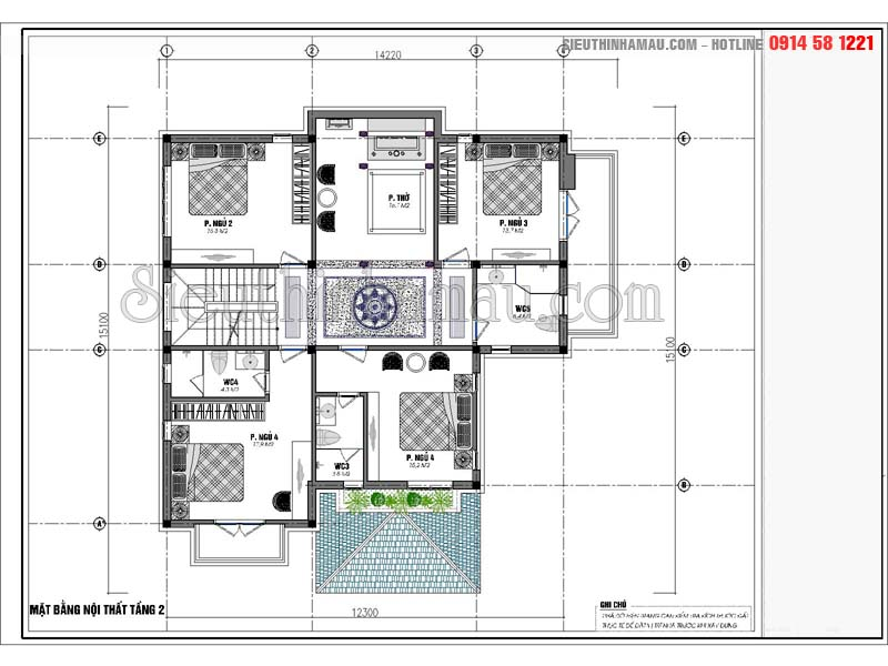 Nhà vuông mái thái 2 tầng
