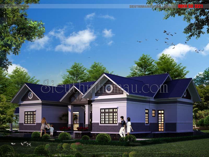Thiết kế nhà 1 tầng 180m2