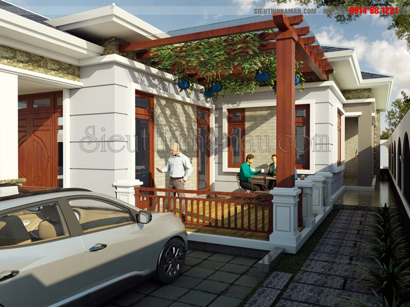 Thiết kế nhà 10x18m 1 tầng mái thái đơn giản mà đẹp