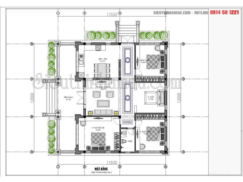 thiết kế nhà 12x12m