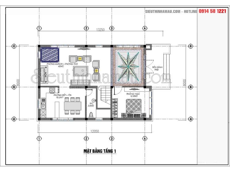 thiết kế nhà 2 tầng rưỡi