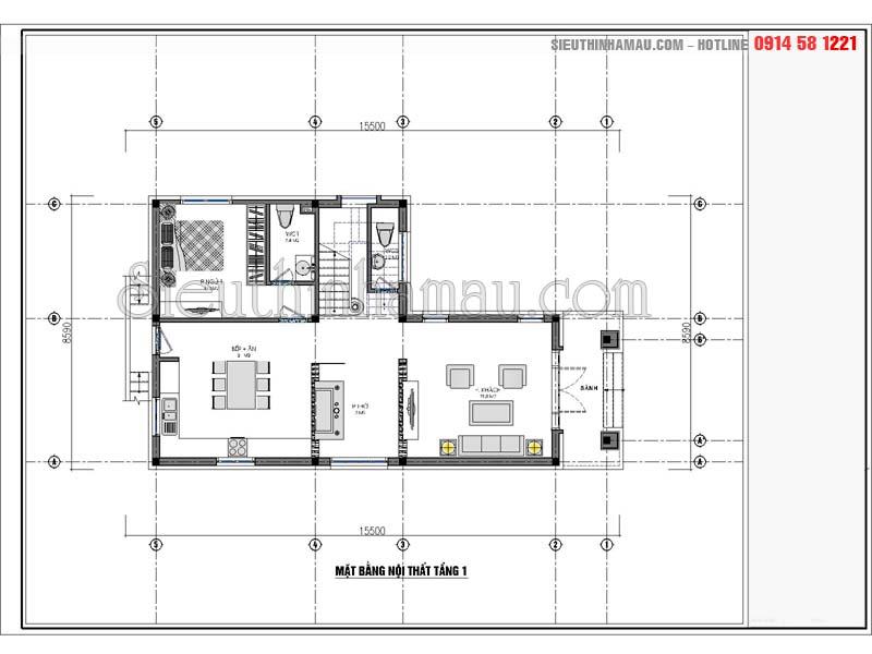Thiết kế nhà 8x13m 2 tầng