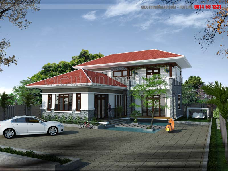 thiết kế nhà 9x15m 2 tầng