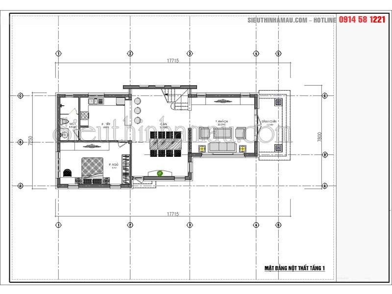thiết kế nhà cấp 4 gác lửng 3 phòng ngủ