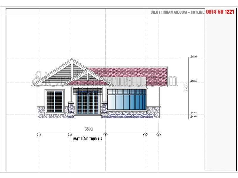 Thiết kế nhà cấp 4 mái thái 130m2