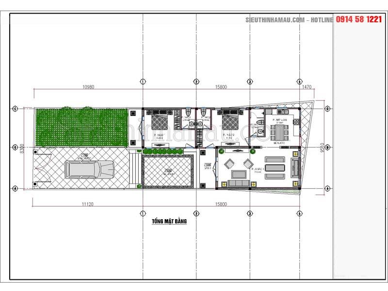 thiết kế nhà đẹp 8x16m 1 tầng