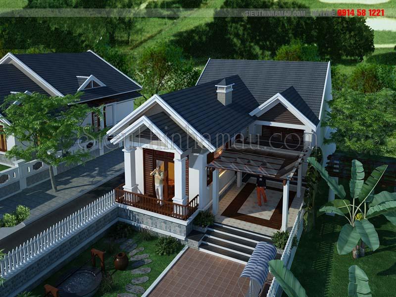 mẫu thiết kế nhà đẹp 8x16m 1 tầng