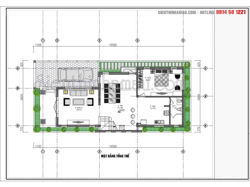 Mặt bằng nhà 1 tầng 7x15m có gác lửng