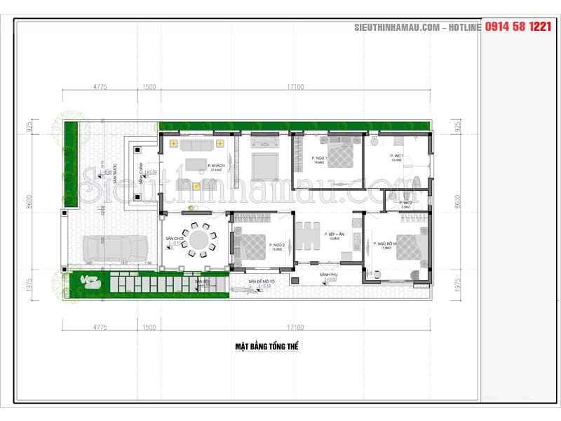 Mặt bằng thiết kế nhà 10x18m 1 tầng ở quê đẹp
