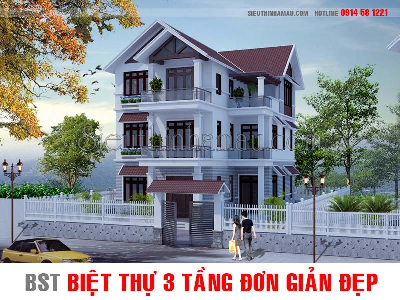 Tư vấn mẫu nhà biệt thự 3 tầng đơn giản mà đẹp