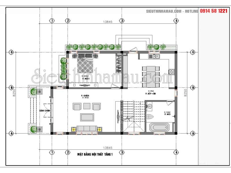 Bản vẽ nhà 2 tầng 8x15m