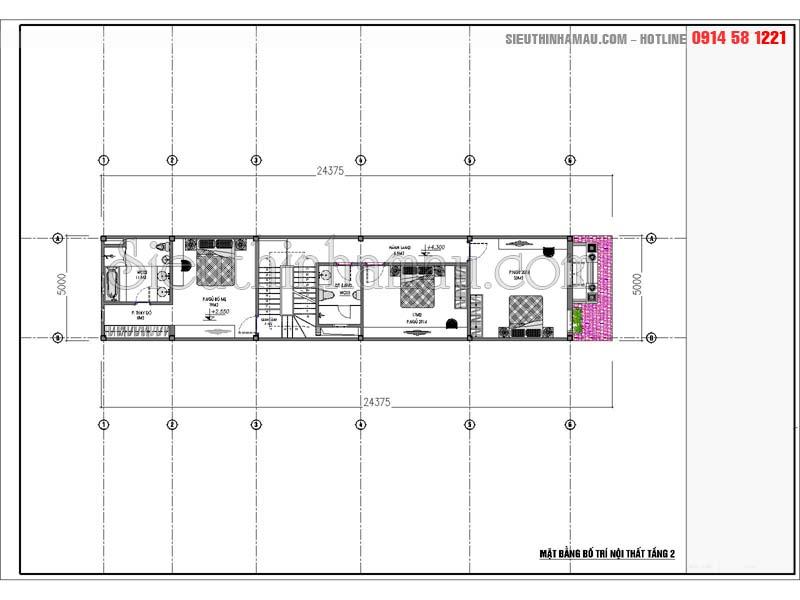 Bản vẽ thiết kế nhà 5x18m đẹp 3 tầng