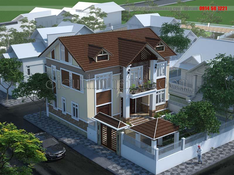 Hình ảnh nhà mái thái 2 tầng