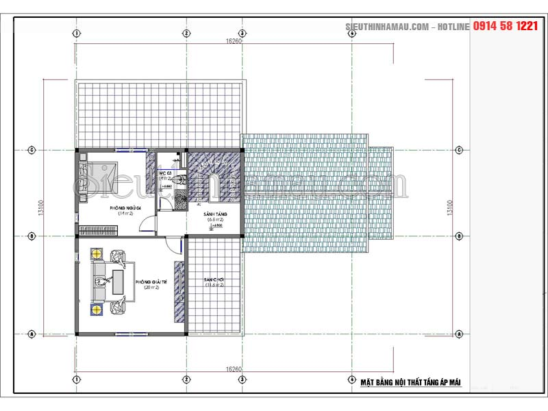 Kiến trúc nhà 2 tầng rưỡi