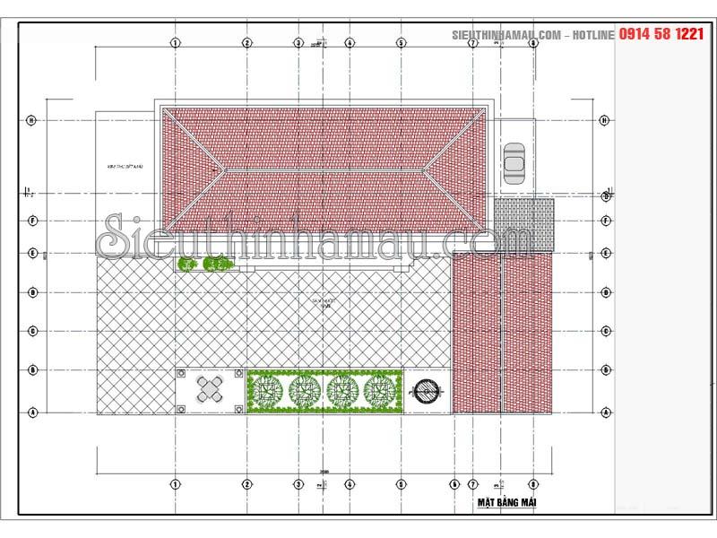 Mẫu nhà cấp 4 mái ngói đỏ đơn giản diện tích 150m2