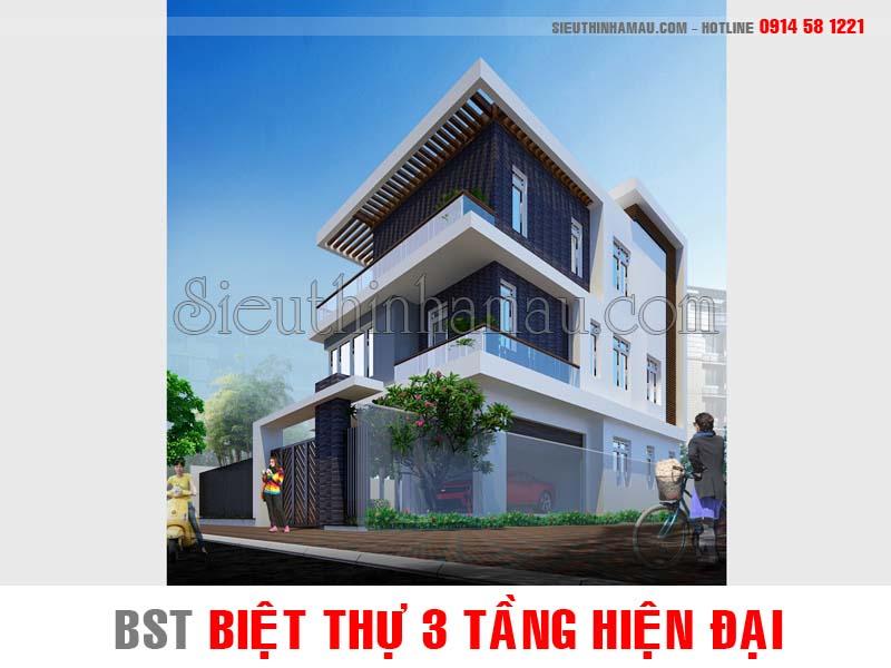 Những mẫu nhà biệt thự 3 tầng hiện đại đẹp