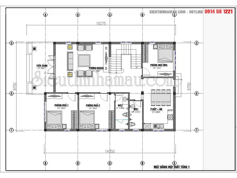 Nhà 2 tầng 4 phòng ngủ