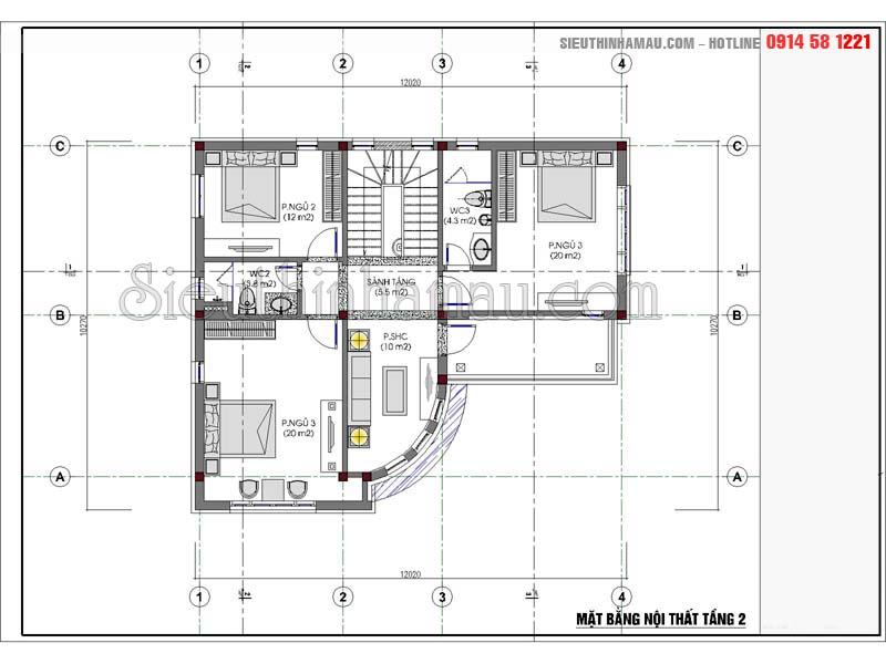 Thiết kế nhà 12x10m