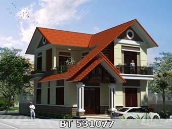 thiết kế nhà 2 tầng mái ngói