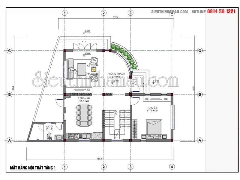 Thiết kế nhà 3 tầng 90m2
