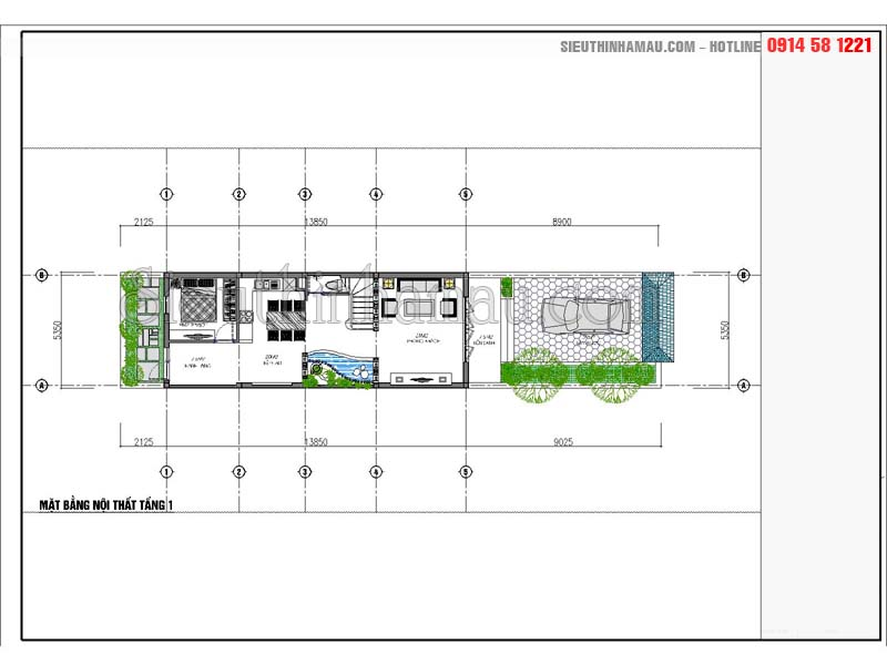Tư vấn thiết kế nhà 5x16m đẹp 3 tầng 1 mặt tiền