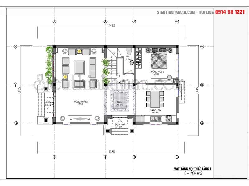 Thiết kế nhà 9x14m