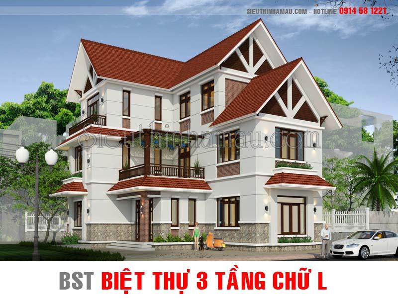 Thiết kế nhà biệt thự 3 tầng chữ l đẹp