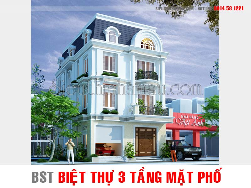 Thiết kế nhà biệt thự 3 tầng mặt phố đẹp