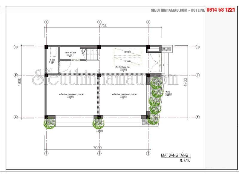 Thiết kế nhà phố 5x8m đẹp 3 tầng 1 tum hiện đại