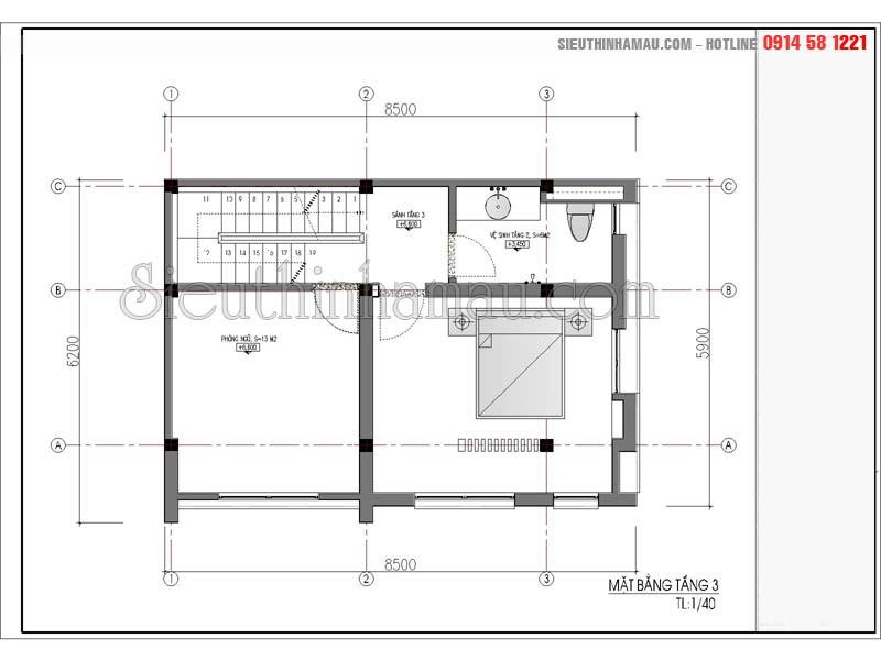 Tư vấn thiết kế nhà phố 5x8m 3 tầng 1 tum đẹp