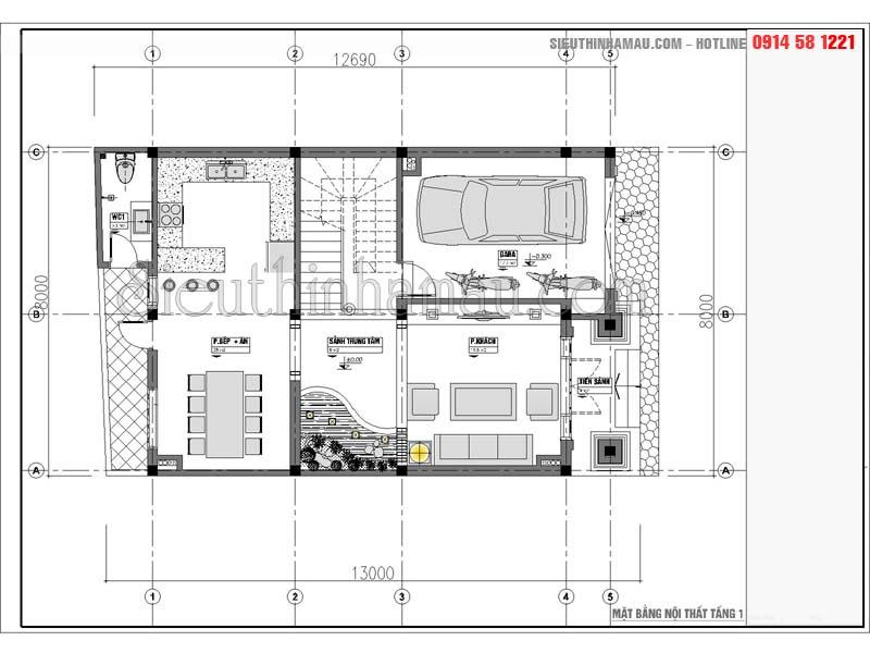 Mẫu thiết kế nhà phố 8x11m tân cổ điển đẹp