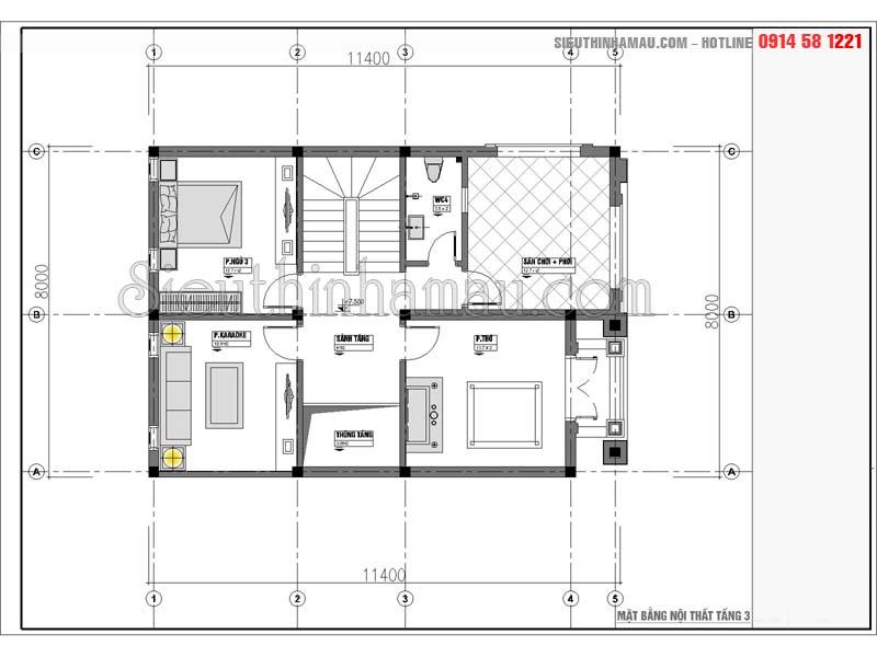 Mẫu nhàphố 8x11m 2 tầng tân cổ điển đẹp