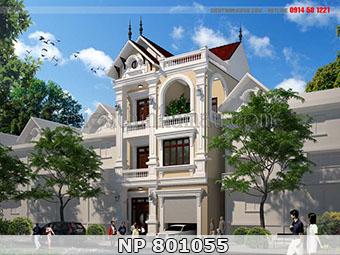 Mẫu nhà phố 8x11m 3 tầng tân cổ điển đẹp