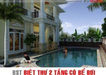 các mẫu nhà biệt thự 2 tầng có bể bơi vô cùng sang trọng